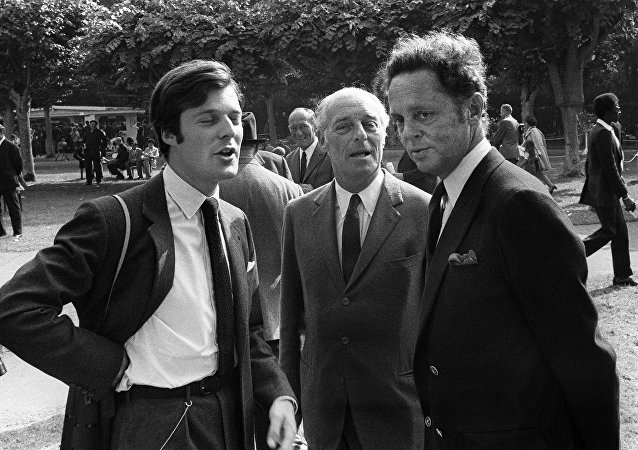 Baron Guy de Rothschild is pictured with his son David (L) and Baron Alexis de Rede in Deauville (Calvados) August 1970.
