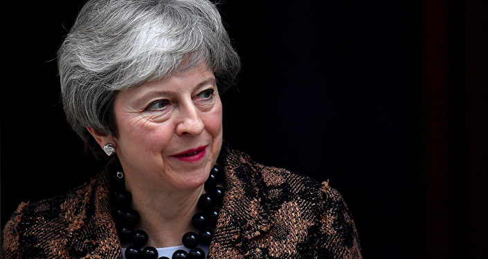 Britain's Prime Minister Theresa May waits for her New Zealand's counterpart Jacinda Ardern at Downing Street in London, Britain, January 21, 2019
