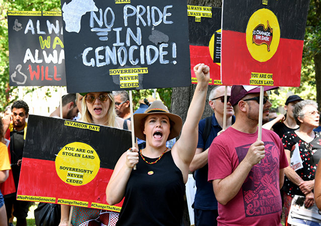 Protestors take part in an Invasion Day Rally in Sydney, Australia January 26, 2019
