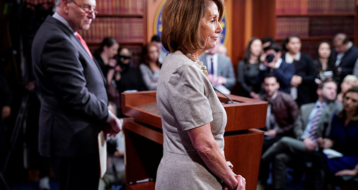 Speaker of the House Nancy Pelosi (D-CA) and Senate Minority Leader Chuck Schumer (D-NY) speak after US President Donald Trump agreed to a deal to end the partial government shutdown on Capitol Hill in Washington, U.S., January 25, 2019