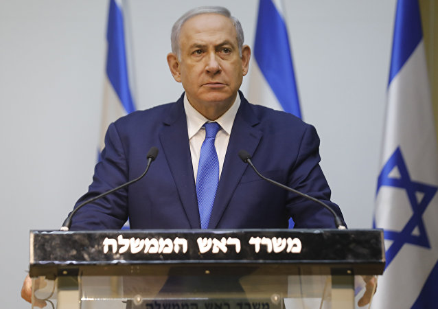 Israeli Prime minister Netanyahu prepares to deliver a statement at the Israeli Parliament (Knesset) in Jerusalem, ahead of UN the Security Council discussion on Hezbollah's tunnels into Israel, on December 19, 2018