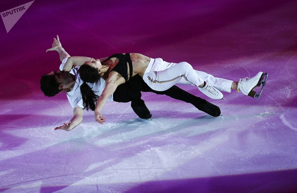 Sofia Evdokimova and Egor Basin During 5th Stage of Grand Prix Among Figure Skaters in Moscow