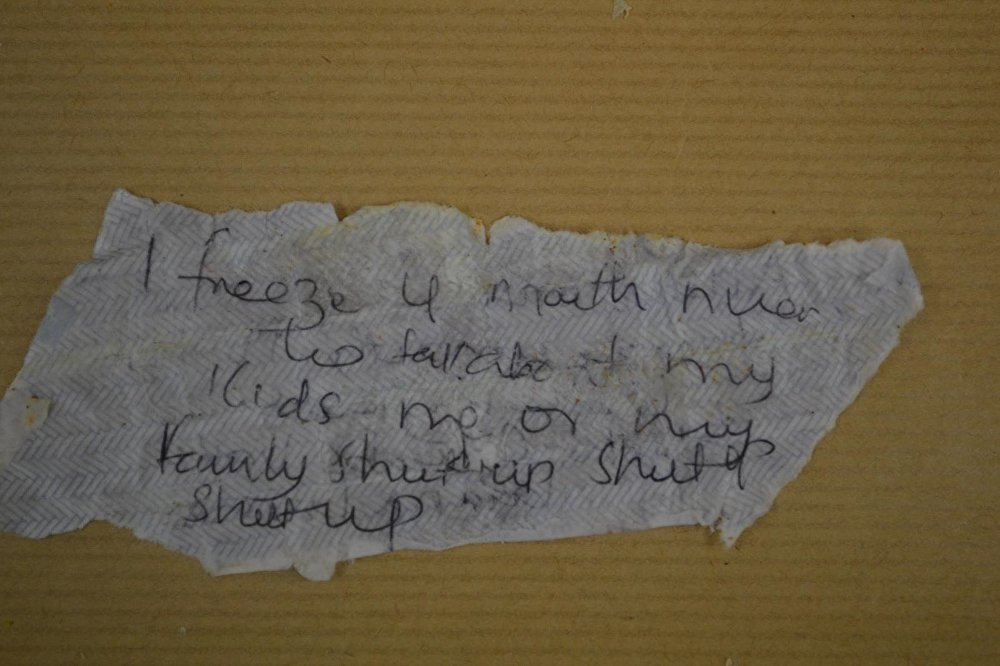One of the notes - part of a witchcraft spell - which were found in frozen limes in the woman's freezer