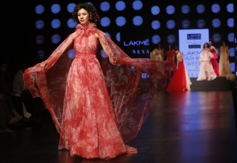 Indian Model on Stage Wearing Clothes Created by Gauri and Nainika at the Lakme Fashion Week in Mumbai