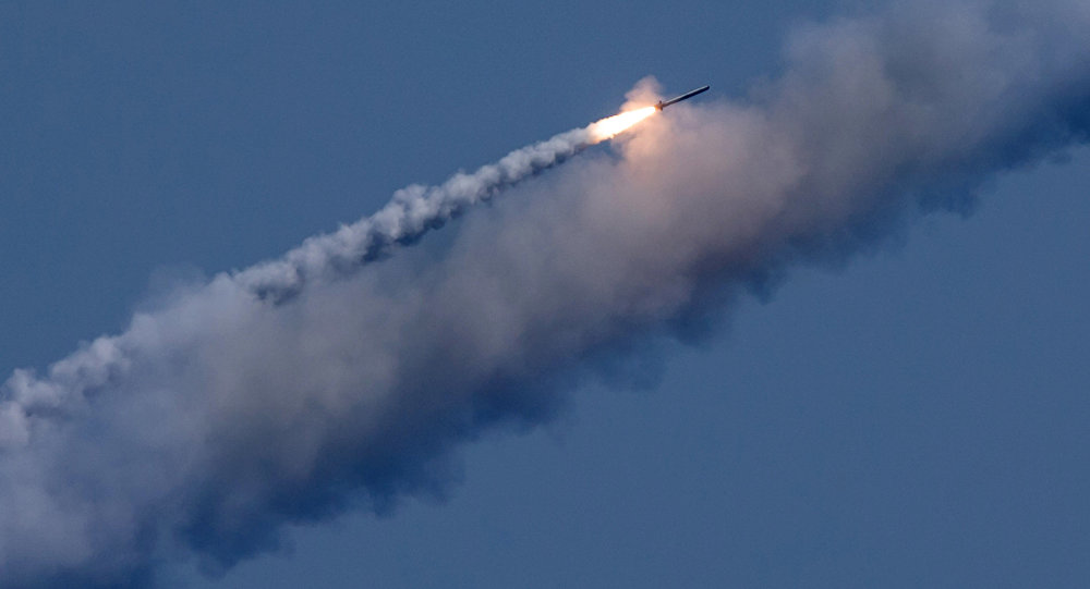 The Russian submarines Kolpino and Veliky Novgorod launch seven Kalibr cruise missiles at terrorist targets in Syria
