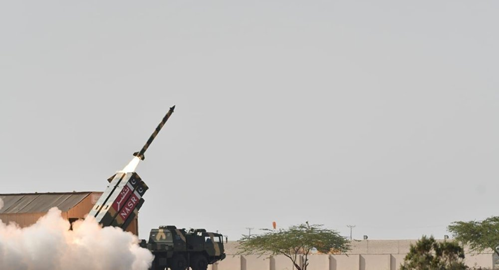 """Pakistan today successfully conducted training launch of short range surface to surface ballistic missile """"Nasr"""" to enhance the operational efficiency of Army Strategic Forces Command besides re-validating the desired technical parameters."""