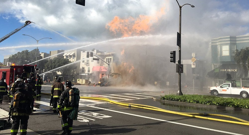 San Francisco Fire Department responds to a fire caused by a gas blast in San Francisco's Inner Richmond neighbourhood.