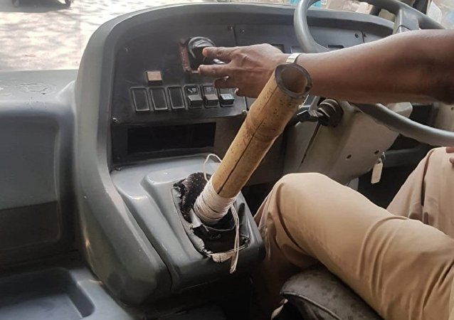 Bus driver uses bamboo as gear stick