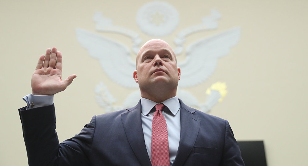 Acting Attorney General Matthew Whitaker is sworn in before the House Judiciary Committee on Capitol Hill, Friday, Feb. 8, 2019 in Washington.