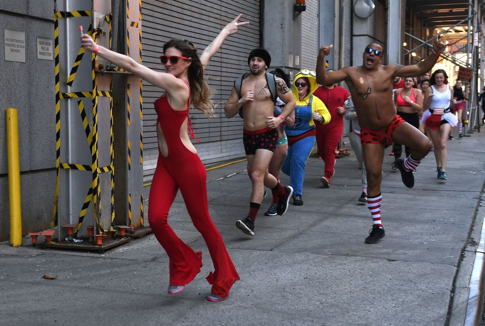 Participants of the Charity Marathon Cupid's Undie Run in New York
