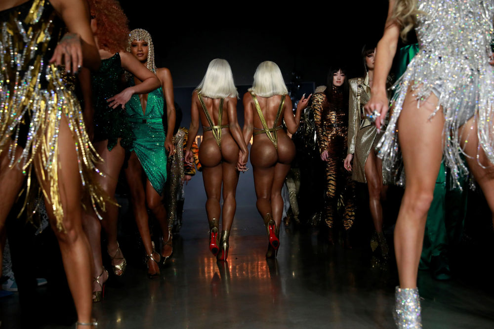 The Clermont Twins present creations from The Blonds Autumn/Winter 2019 Collection During the New York Fashion Week in New York