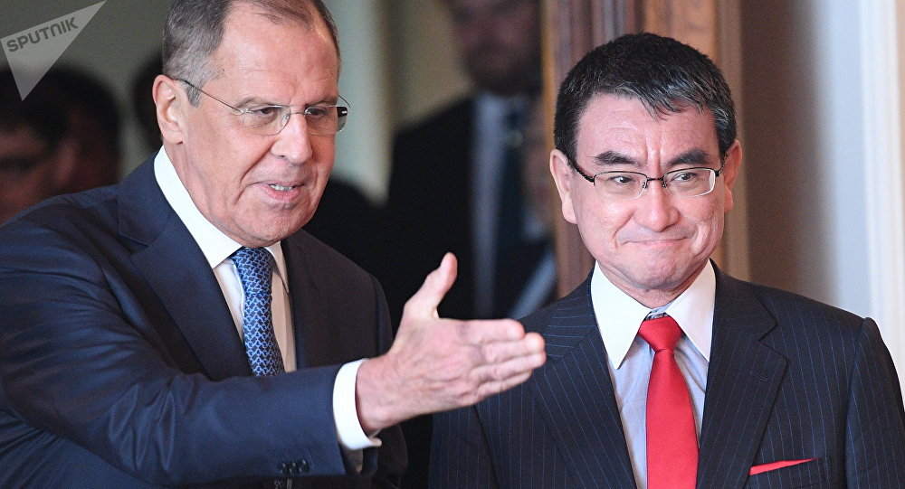 Russian Foreign Minister Sergei Lavrov Meets his Japanese counterpart Taro Kono