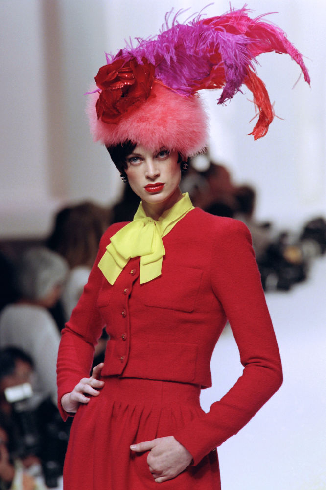 US Model Kristen McMenamy Displays a Creation designed by Karl Lagerfeld in Paris, 1994