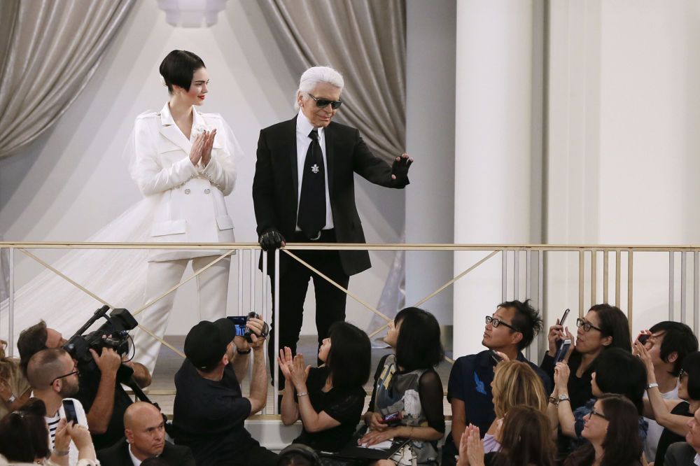German fashion designer Karl Lagerfeld With US Model Kendall Jenner During the Chanel 2015-2016 Fall/Winter Haute Couture Collection Show in Paris