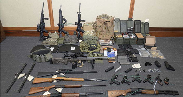 This image provided by the U.S. District Court in Maryland shows a photo of firearms and ammunition that was in the motion for detention pending trial in the case against Christopher Paul Hasson. Prosecutors say that Hasson, a Coast Guard lieutenant is a domestic terrorist who wrote about biological attacks and had a hit list that included prominent Democrats and media figures. He is due in court on Feb. 21 in Maryland. Prosecutors say Hasson espoused extremist views for years. Court papers say Hasson described an interesting idea in a 2017 draft email that included biological attacks followed by attack on food supply.
