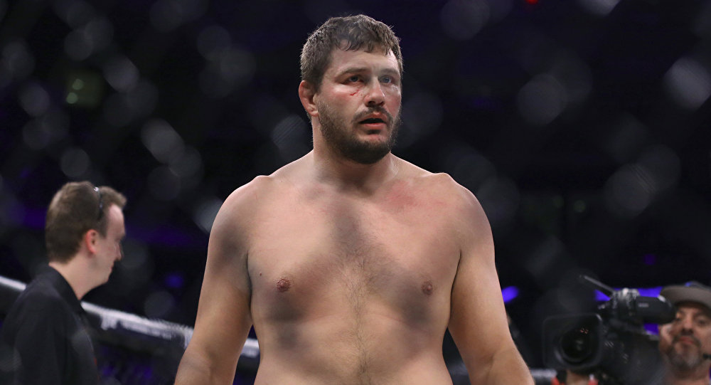 Matt Mitrione stands in the cage after a win against Fedor Emelianenko in a mixed martial arts bout at Bellator 180 on Saturday, June 24, 2017, in New York
