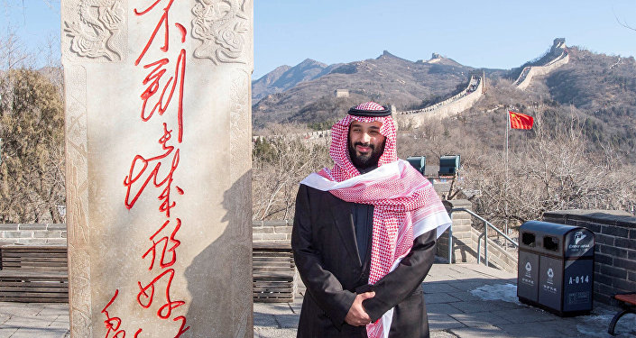 Saudi Arabia's Crown Prince Mohammed bin Salman poses for camera during his visit to Great Wall of China in Beijing, China February 21, 2019