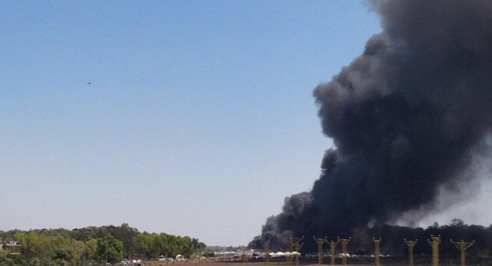 Major fire at 2019 Aero India Show