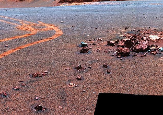 image from NASA Mars rover Opportunity of the Martian surface (NASA)