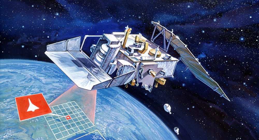 Artist conception of Space Test Program (STP) P-80-1 satellite from Defense Advanced Research Projects Agency