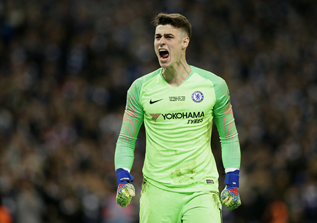 Chelsea's goalkeeper Kepa Arrizabalaga screams at the bench after refusing to be substituted at Wembley on 24 February 2019