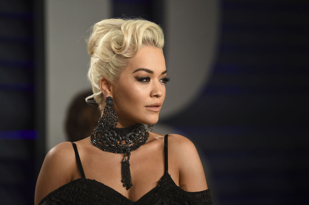 Singer Rita Ora arrives at the Vanity Fair Oscar Party