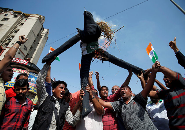 People burn an effigy depicting Pakistan as they celebrate after Indian authorities said their jets conducted airstrikes on militant camps in Pakistani territory, in Ahmedabad