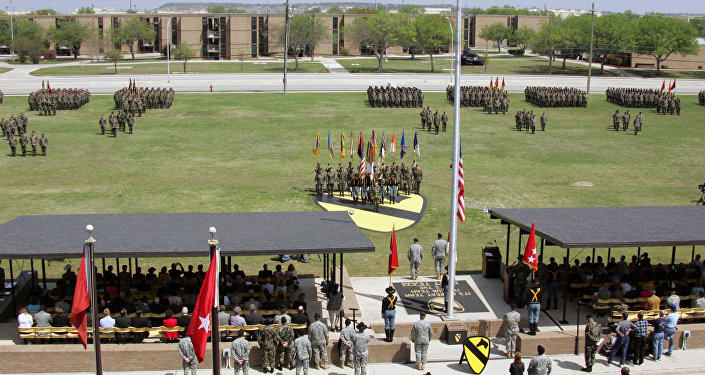 At Cooper Field, Fort Hood, Texas, the U.S. Army 1ST Cavalry Division Headquarters, a retirement ceremony is held for GEN