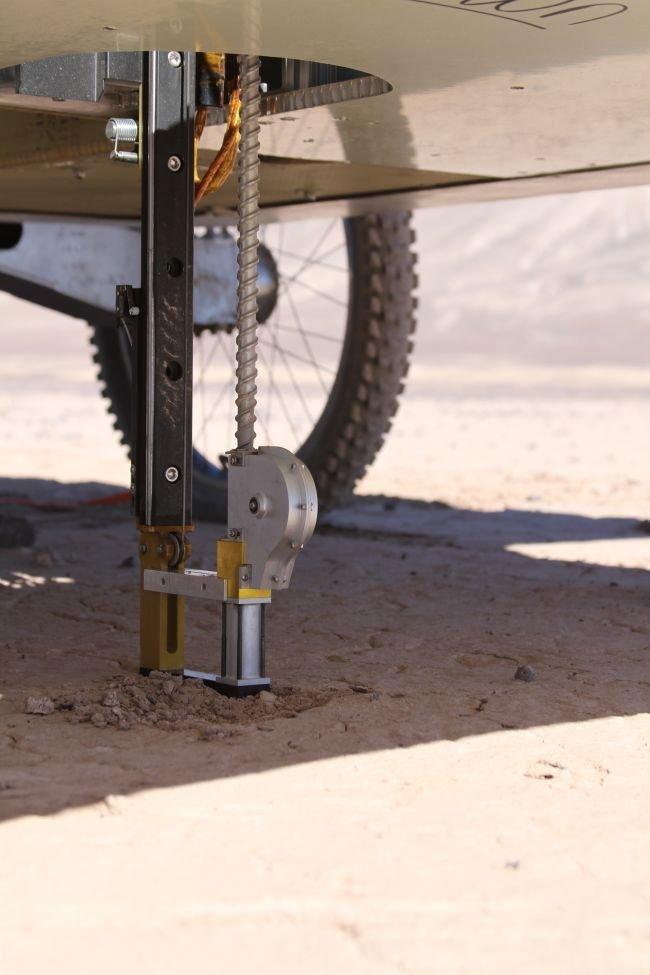 Rover drilling through the Mars-like Atacama desert.