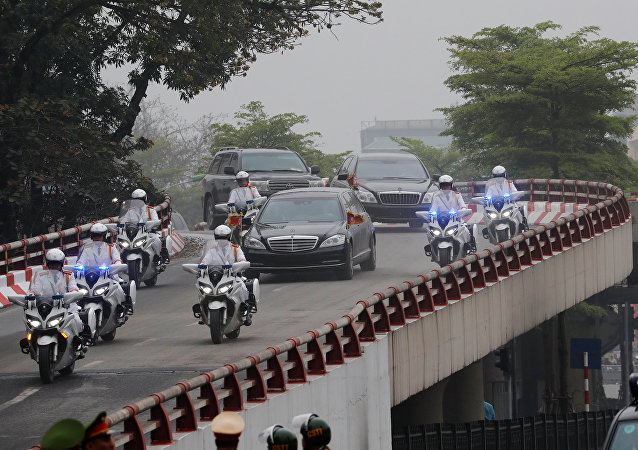 The motorcade of North Korea's leader Kim Jong Un travels enroute to his hotel, ahead of the North Korea-U.S. summit in Hanoi