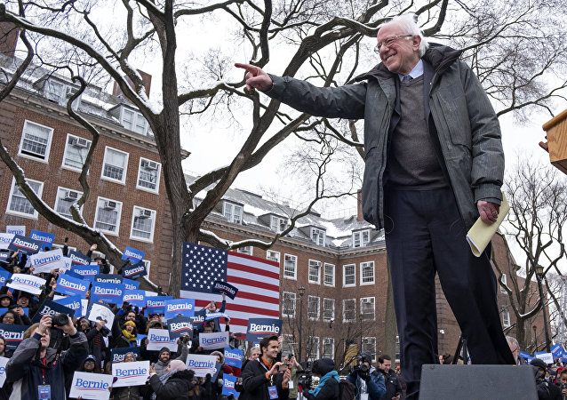 Sen. Bernie Sanders, I-Vt., arrives to the stage as he kicks off his 2020 presidential campaign Saturday, March 2, 2019, in the Brooklyn borough of New York