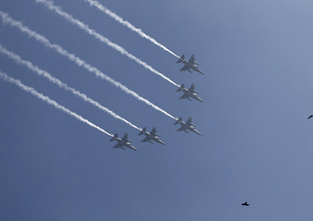 Indian Air Force Mirage 2000 fighters fly in formation