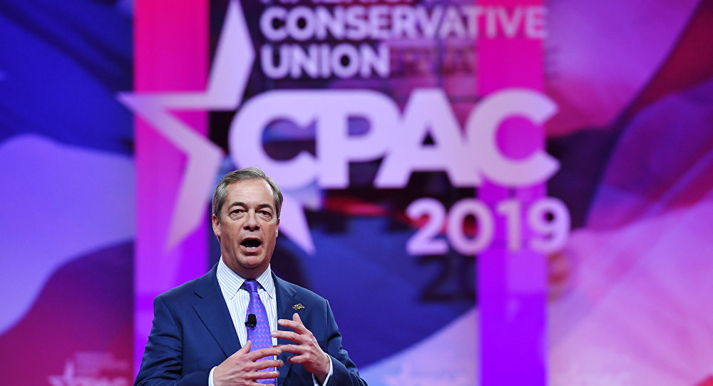 Former UK Independence Party leader and Brexit spearhead Nigel Farage speaks during the annual Conservative Political Action Conference (CPAC) in National Harbor, Maryland, on March 1, 2019.