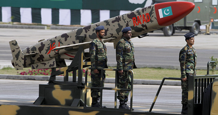 A Pakistani-made Cruise missile Ra'ad is loaded on a trailer rolls down during a military parade to mark Pakistan's Republic Day in Islamabad, Pakistan, Wednesday, March 23, 2016
