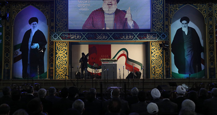 Hezbollah leader Sayyed Hassan Nasrallah delivers a live broadcast speech, during a rally to commemorate the 40th anniversary of Iran's Islamic Revolution, in southern Beirut, Lebanon, Wednesday, Feb. 6, 2019
