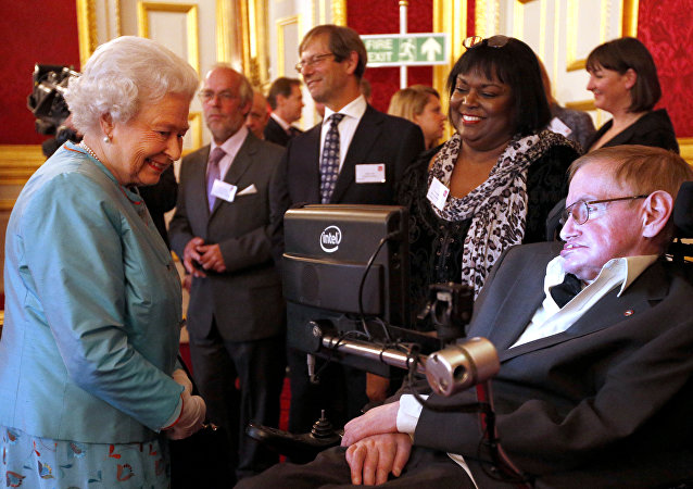Britain's Queen Elizabeth II (L) meets British scientist Stephen Hawking (R) at a reception for Leonard Cheshire Disability in the State Rooms, St James's Palace, London on May 29, 2014.