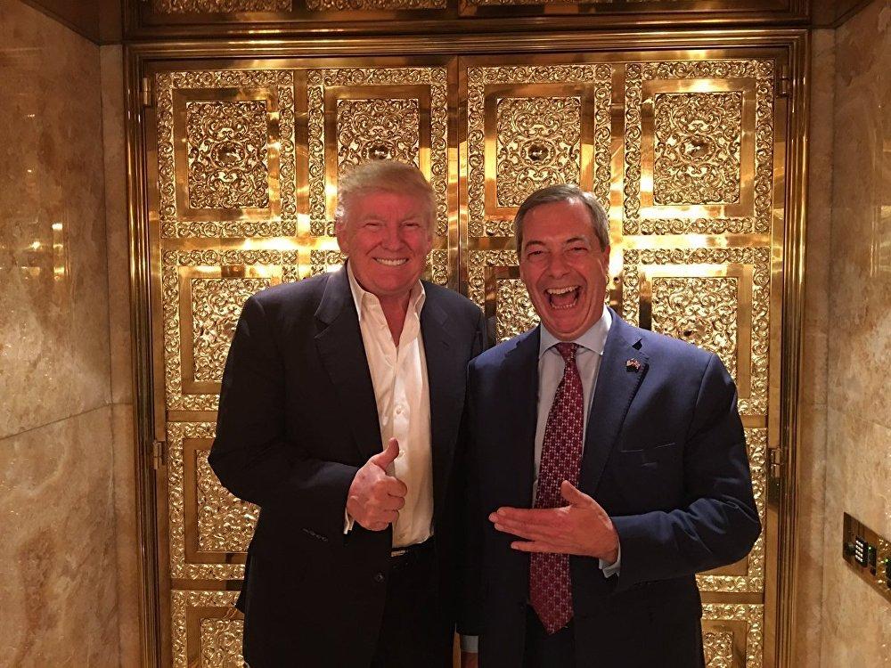 Nigel Farage (R) and Donald Trump