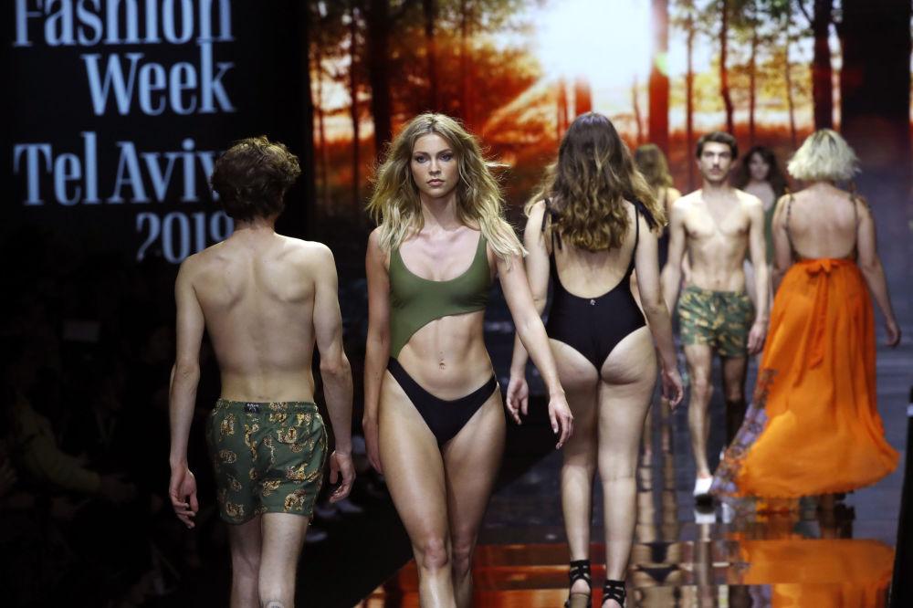 Models Wearing Swimsuits Presents a Creation by Israeli Designer Bananhot During the Tel Aviv Fashion Week