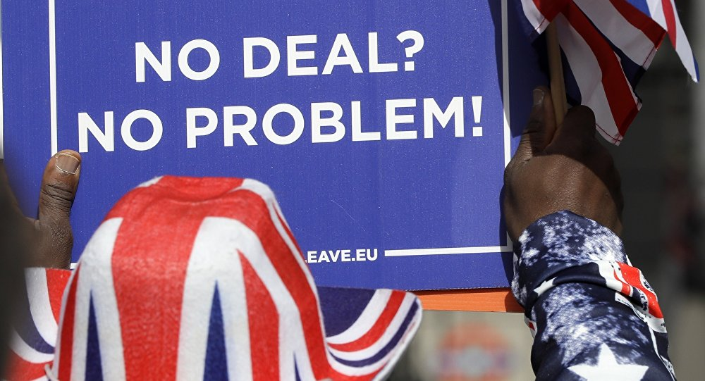 A pro-Brexit leave the European Union supporter takes part in a protest outside the House of Parliament in London, Wednesday, March 13, 2019.