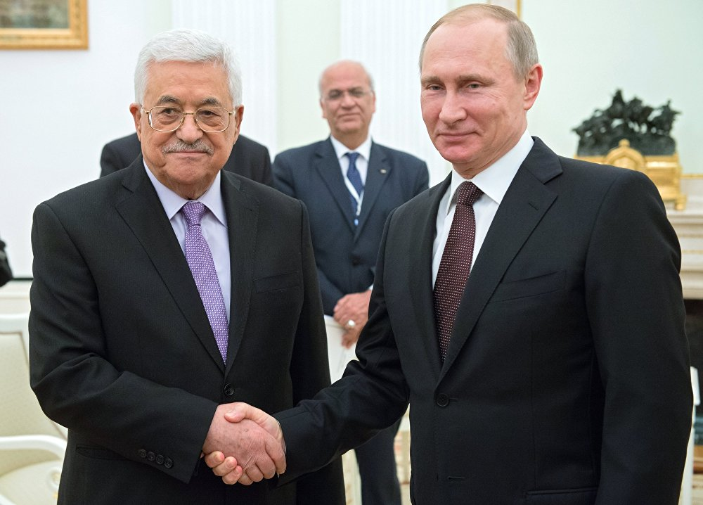 Russian President Vladimir Putin, right, and Palestinian Authority President Mahmoud Abbas during a meeting in the Kremlin