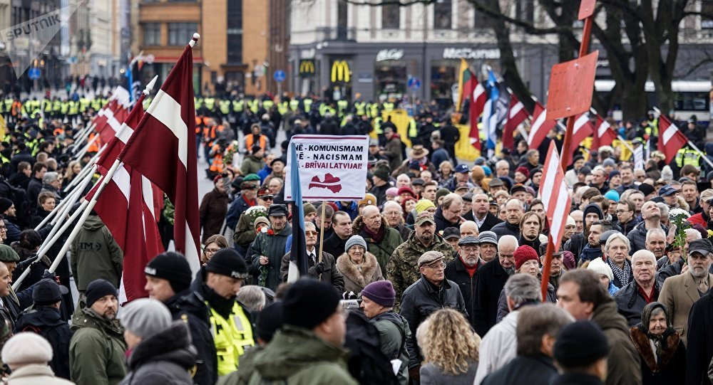 People Take Part in Waffen-SS Veterans March in Riga