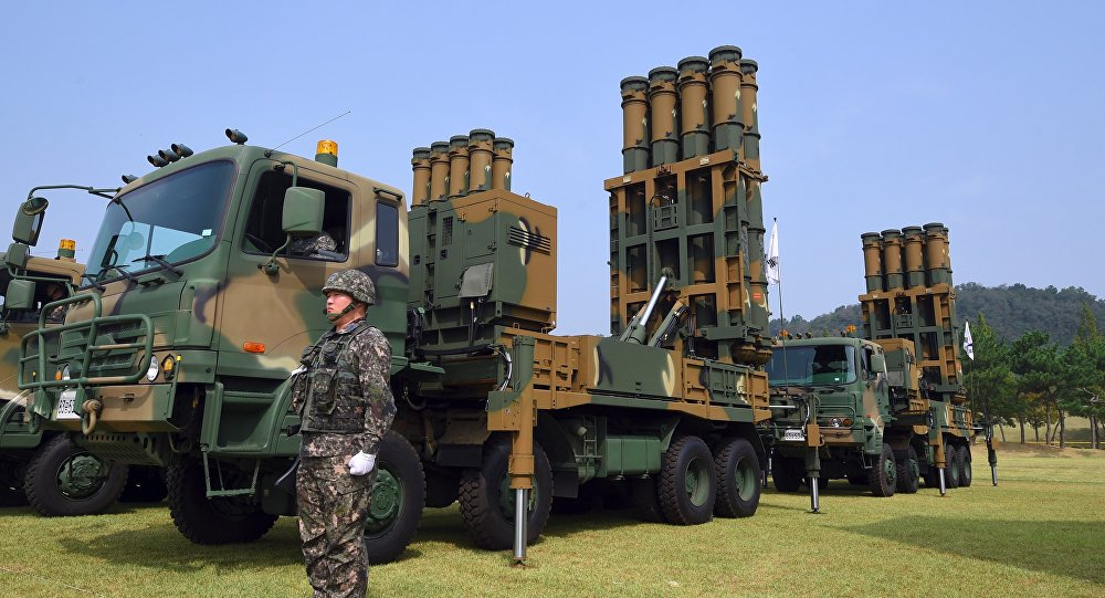 This picture taken on September 25, 2017 shows a South Korean soldier standing by a Cheongung medium range surface-to-air missile system.
