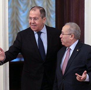 Algerian Foreign Minister and Deputy Prime Minister Ramtane Lamamra with Russian Foreign Minister Sergei Lavrov.