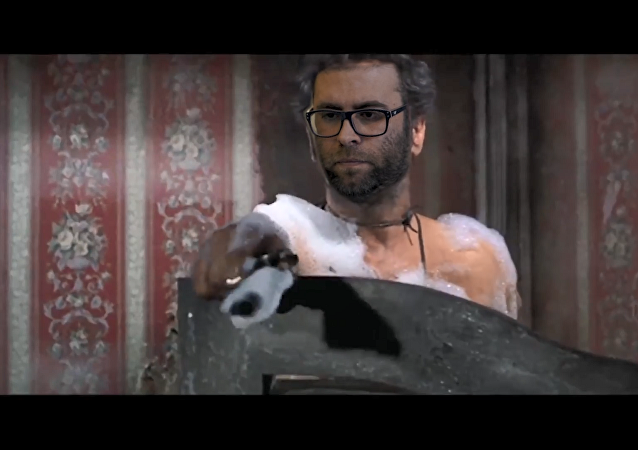A campaign ad showing Israeli MK Oren Hazan as Tico from the 1996 Spaghetti Western film The Good, the Bad, and the Ugly, shooting Arab Israeli MK Jamal Zahalka, portrayed as the one-armed bounty hunter