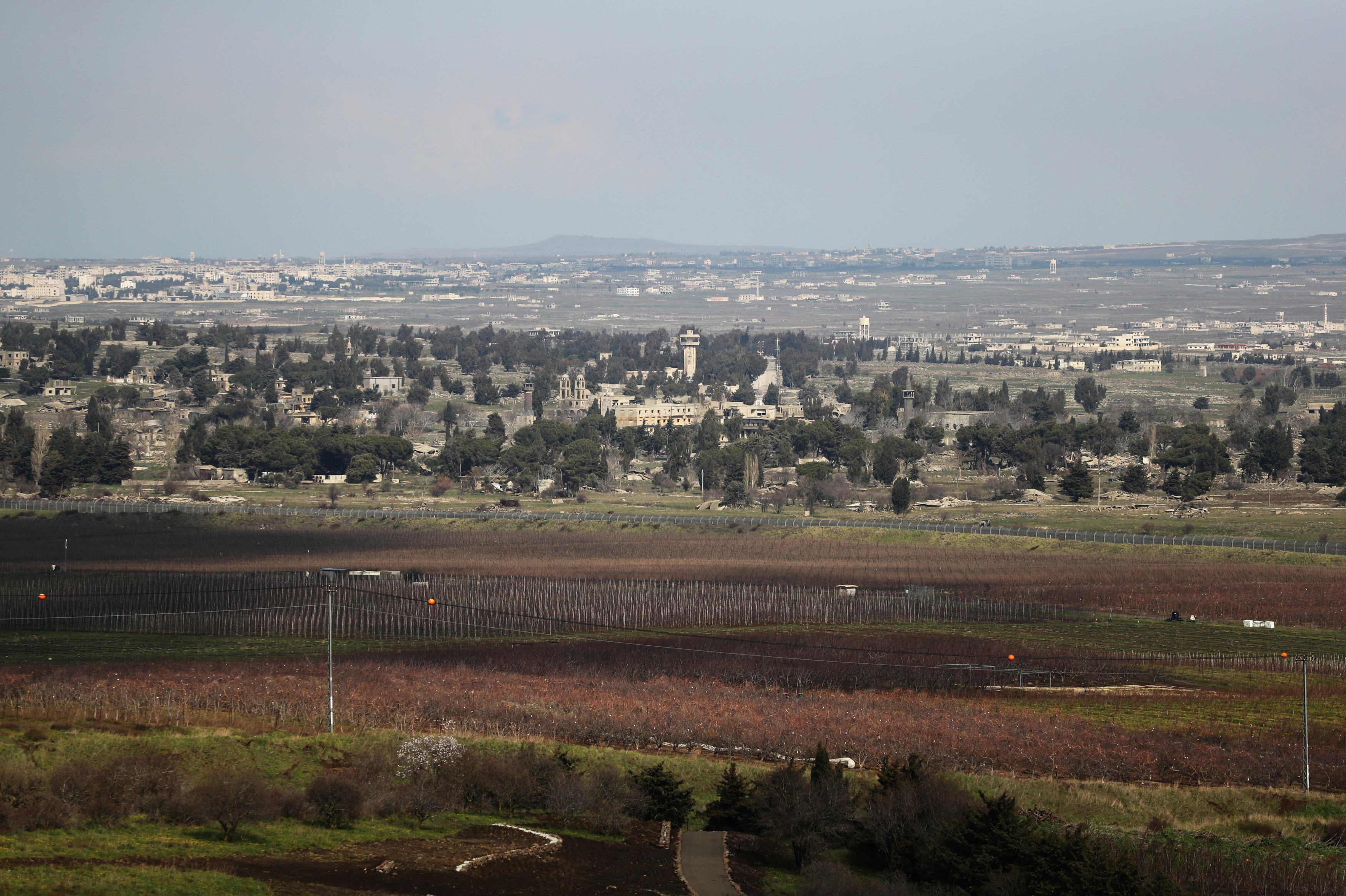 A general view of the Israeli-Syrian border is seen from the Israeli-occupied Golan Heights