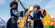 Girls Wearing National Outfits During Celebrations of Nowruz at Astana Expo in Nur-Sultan
