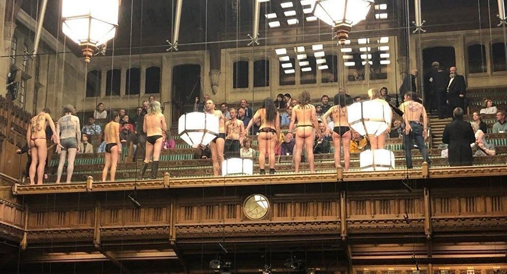 Semi-Naked Protesters in House of Commons