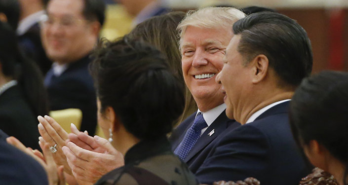 U.S. President Donald Trump and China's President Xi Jinping attend at a state dinner at the Great Hall of the People in Beijing, China, Thursday, Nov. 9, 2017