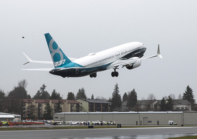 A Boeing 737 MAX 8 takes off during a flight test in Renton, Washington