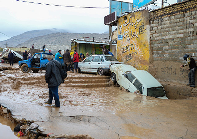 Damaged Vehicles Seen After a Flash Flooding in Shiraz